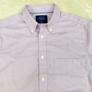 New! Men's Slim Pink check Dress Shirt! Small